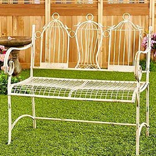 Vintage muebles y decoración pajarera jardín banco de metal: Amazon.es: Jardín