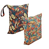 Alva Baby 2pcs Travel Wet and Dry Cloth Diapers Wet Bags Waterproof Reusable with Two Zippered Pockets L4144-CA