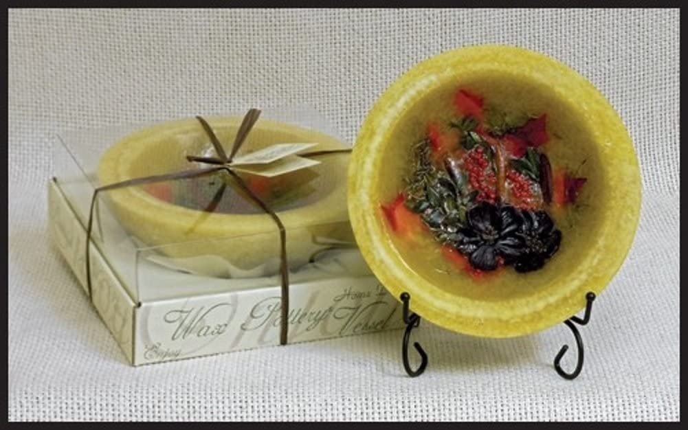 """Habersham Candle 7"""" Wax Pottery Apple Brandy Fragrance With Stand"""