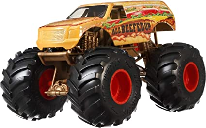 Amazon Com Hot Wheels Monster Trucks All Beefed Up Die Cast 1 24 Scale Vehicle With Giant Wheels For Kids Age 3 To 8 Years Old Great Gift Toy Trucks Large Scales Toys Games