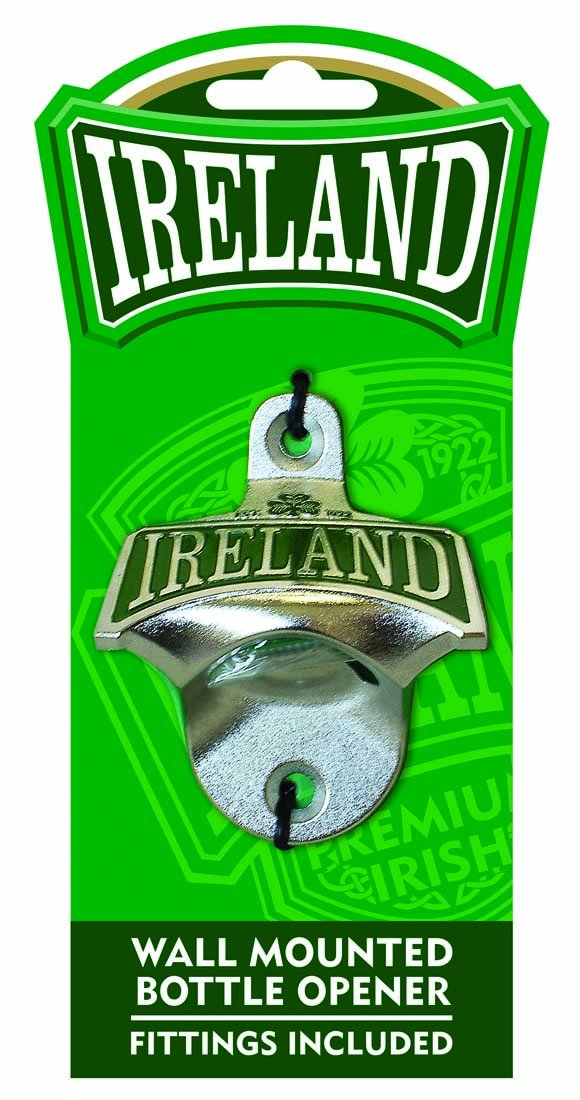 Ireland College Wall Mounted Bottle Opener With Green Shamrock Design