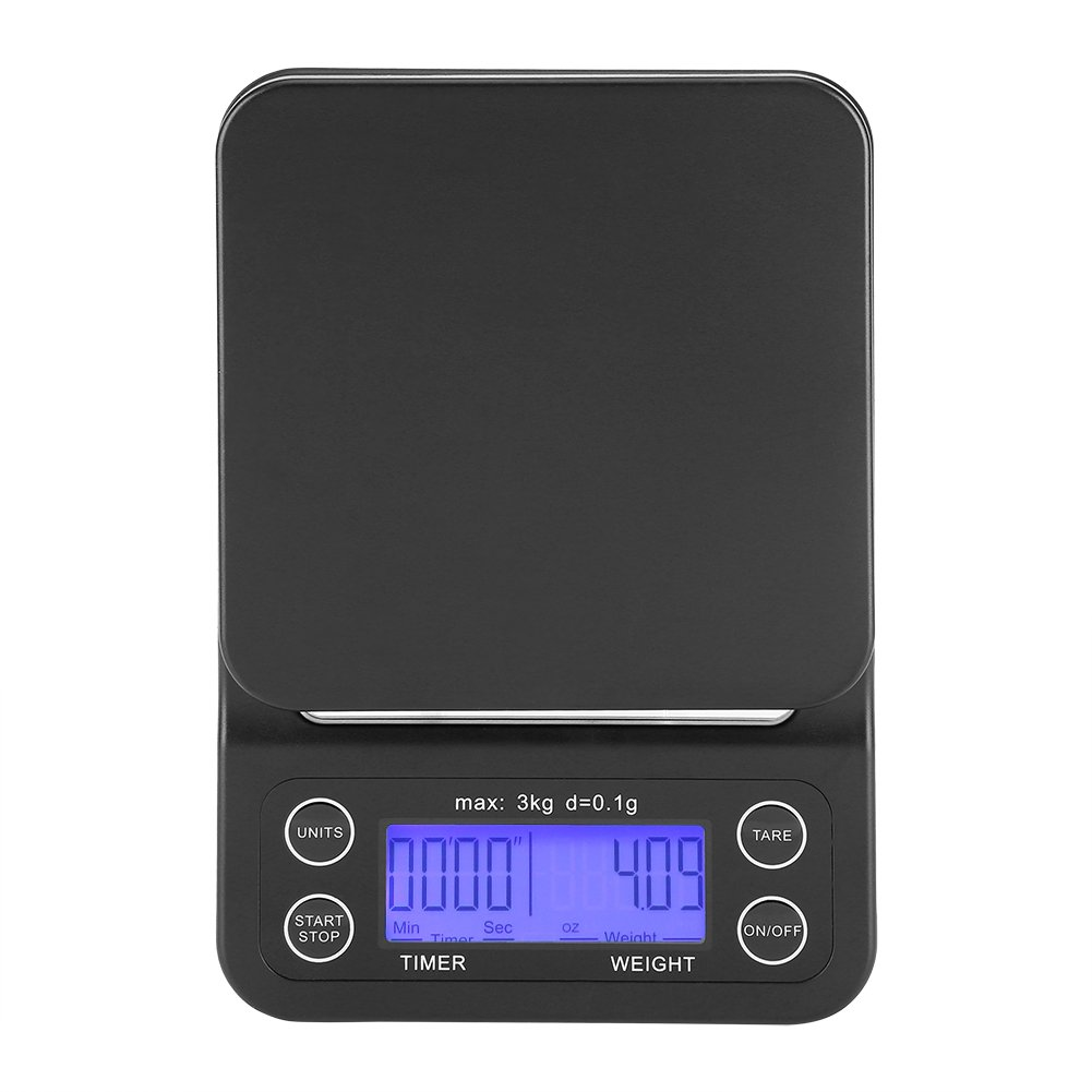 Fdit Báscula Digital Cocina de Café Electrónico de Goteo de Escala de Comida de 3KG / 0.1g LCD Digital Que Pesa con Contador de Tiempo(Violeta Azulado): ...
