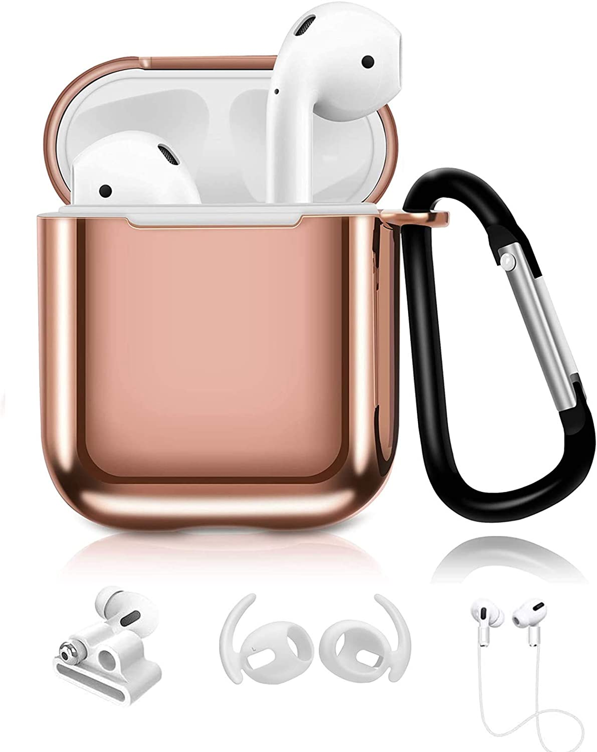 Aiiko AirPods Case Cover,Upgrade TPU Plated Case with Keychain/Anti-Lost Strap/Earhooks and Watch Band Holder,Shockproof Case Cover Compatible with Apple AirPods 2&1 [Front LED Visible] - Rosegold