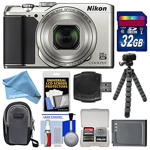 Nikon Coolpix A900 4K Wi-Fi Digital Camera (Silver) with 32GB Card + Case + Battery + Flex Tripod + DigitalAndMore Free Deluxe Accessory Bundle (Dc200 Memory)