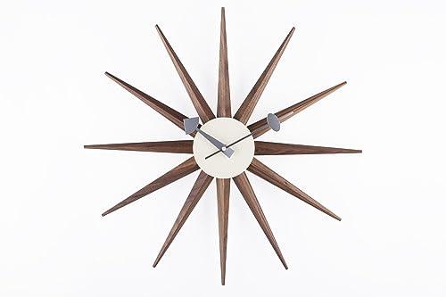 Stilnovo Sunburst Wall Clock, Real Walnut