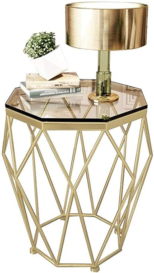 Ranranjj Octagon Tempered Glass Coffee Table W Satin Gold Trim For