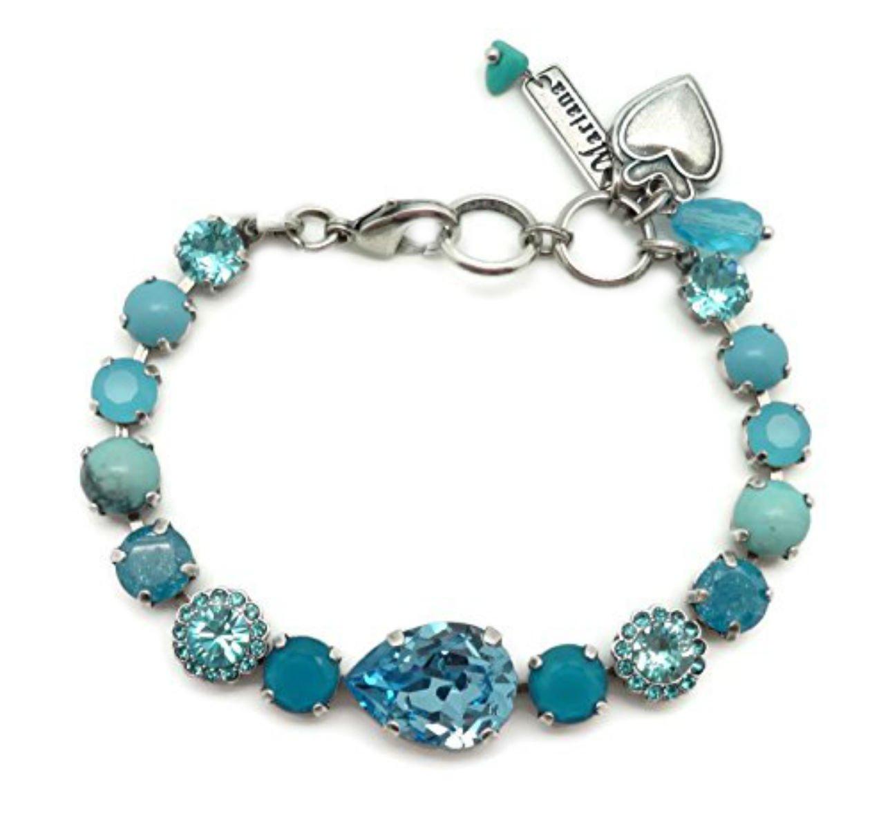 Mariana Silver Plated Swarovski Crystal Bracelet Aqua & Caribbean Blue Mix M1082 Zambezi