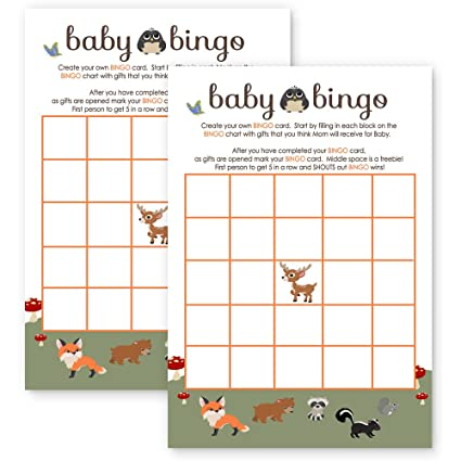 Amazon Com Woodland Baby Shower Bingo Game Card Fill In Paper Pack