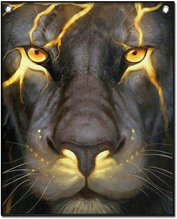 Hanging Poster Canvas Artwork, Lightning Lion Wall Art for Office Living Room Bedroom Home Decor With Hanger Scroll Frame Ready To Hang (18x26inch)