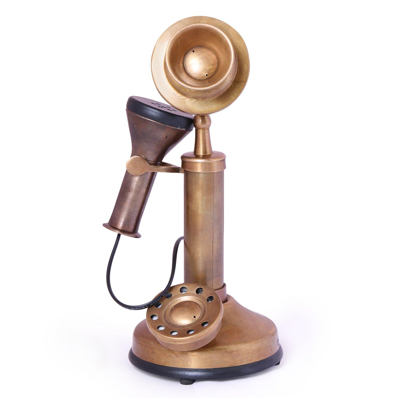 Artshai Small Handmade Brown Antique look telephone model