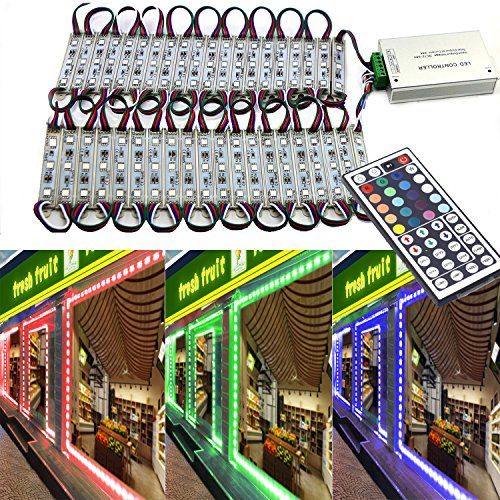 EAGWELL 20 Ft Storefront Lights 40 Pieces RGB 5050 LED Light Module,2 Set 5050 SMD 120 LED Module Store Front Window Sign Strip Light
