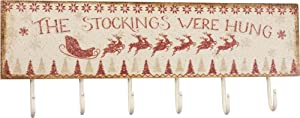 Primitives by Kathy Rustic Christmas Stockings were Hung 6-Hook Board