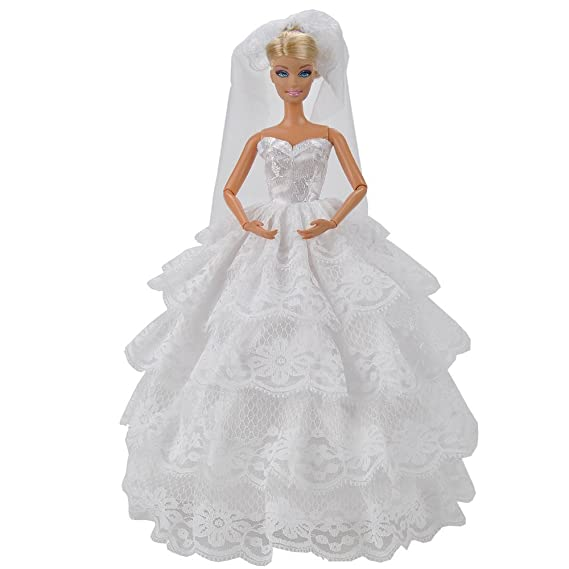 Barbie Wedding Gown With White Lace Details Complete With Veil Fit The Barbie Doll By Webeauty