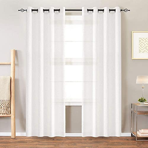 Linen Curtains for Living Room 84 Inches Window Treatments for Bedroom Ring Top 2 Panels White