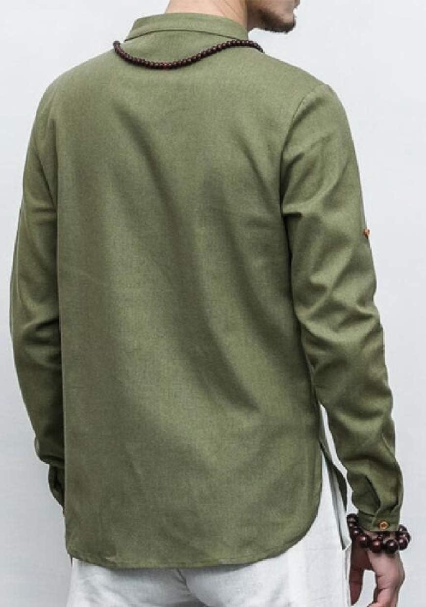 CBTLVSN Men Long-Sleeves Blend Oversize Kung Fu Linen Cotton Casual Shirts