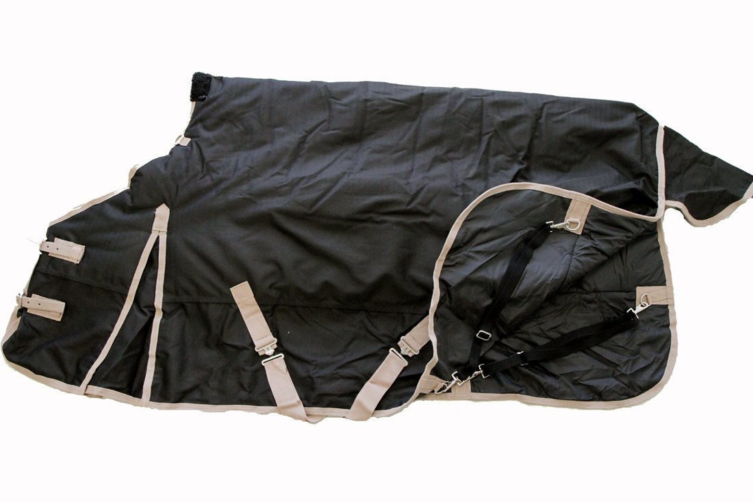 Heavy Weight Horse Turnout Blanket 1200D Rip Stop Water Proof Black 74