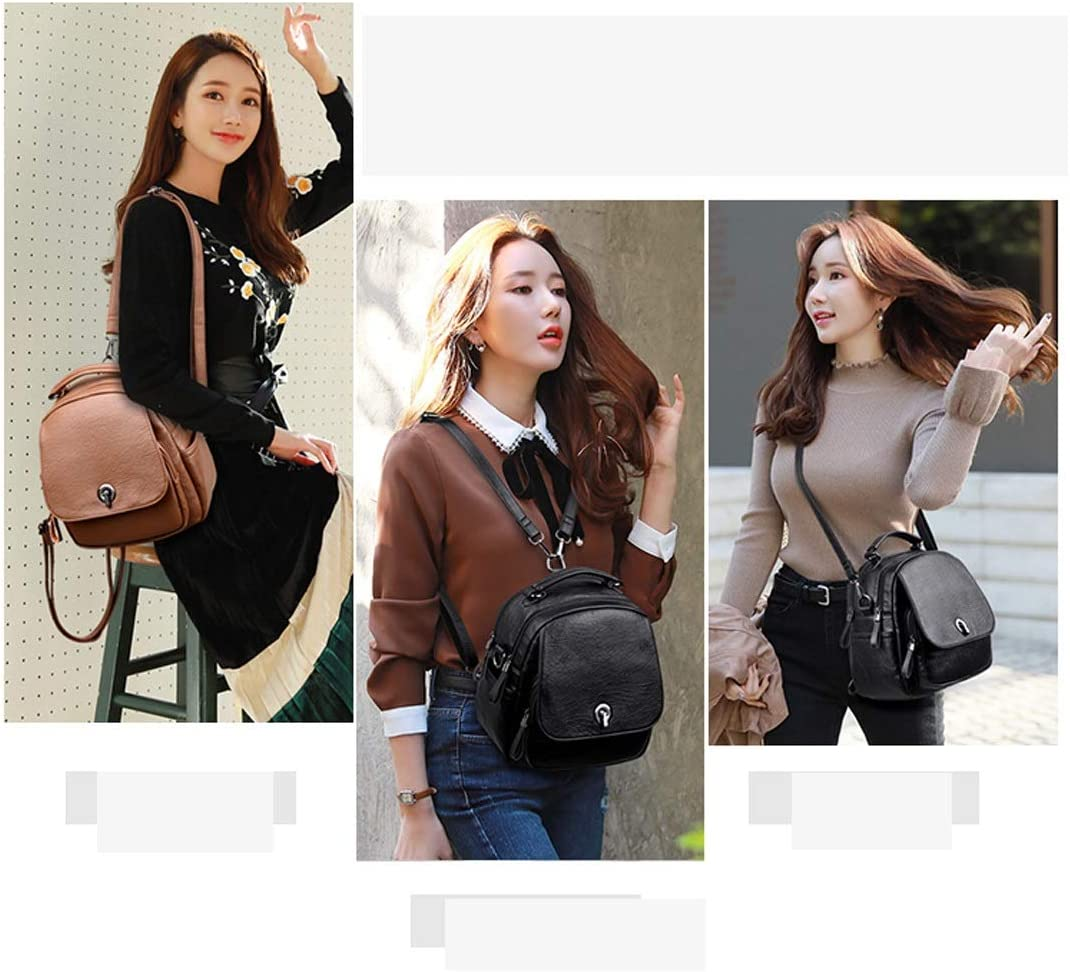 PU Leather Color : Pink, Size : 23CM25CM12CM Mini Simple. Black//Green//red//Brown Haoyushangmao Girls Multi-Purpose Backpack for Daily Travel//Outdoor//Travel//School//Work//Fashion//Leisure