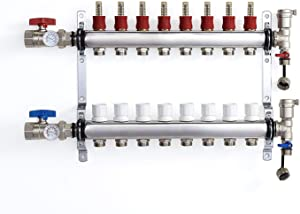 """PEX Manifold Radiant Floor Heating Set 8 Loop System Stainless Steel Heated Hydronic Heating 1/2"""" Oxygen Barrier Tubing"""