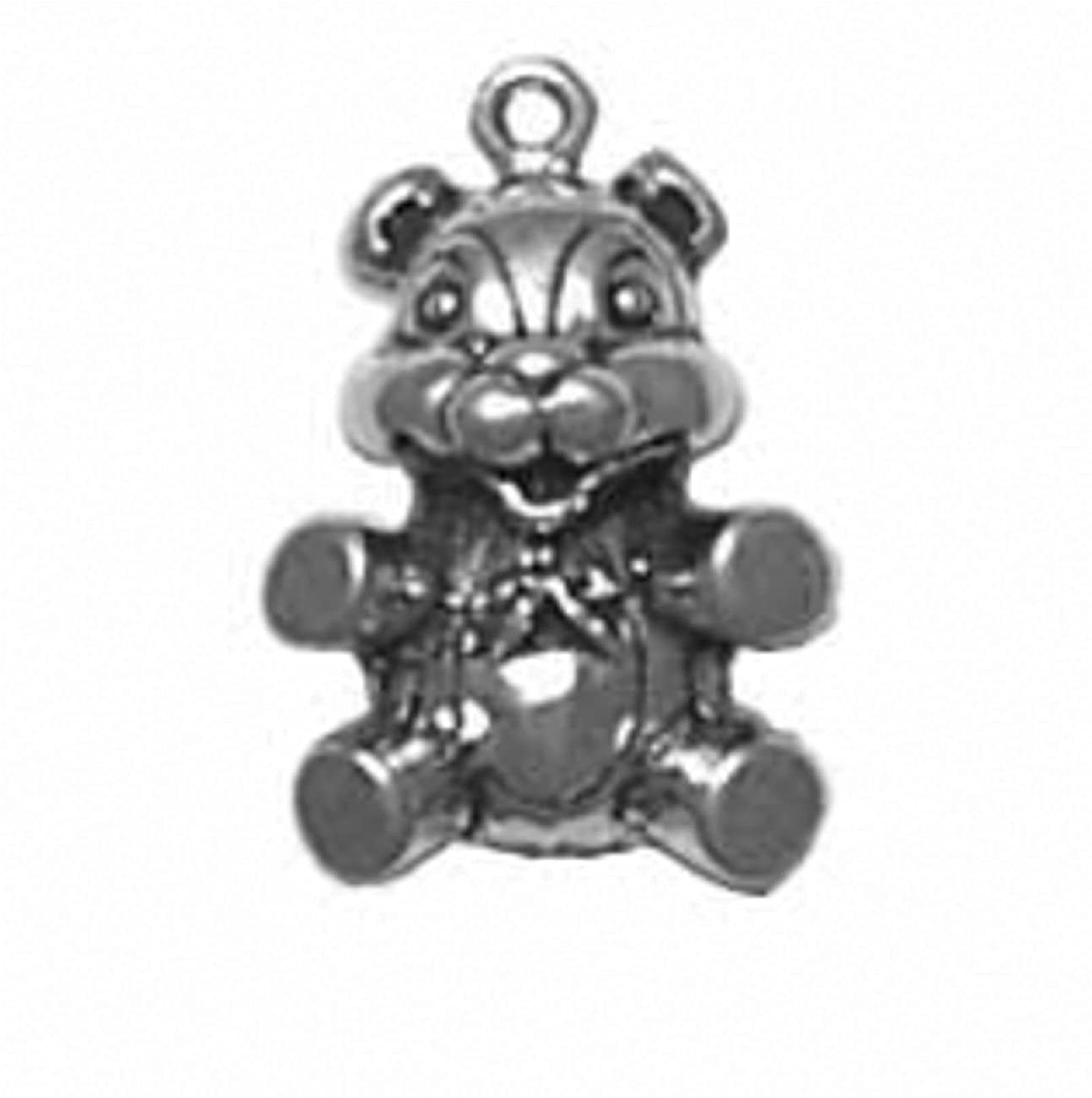 Sterling Silver Womens 1mm Box Chain 3D Cute Teddy Bear Pendant Necklace Bowtie
