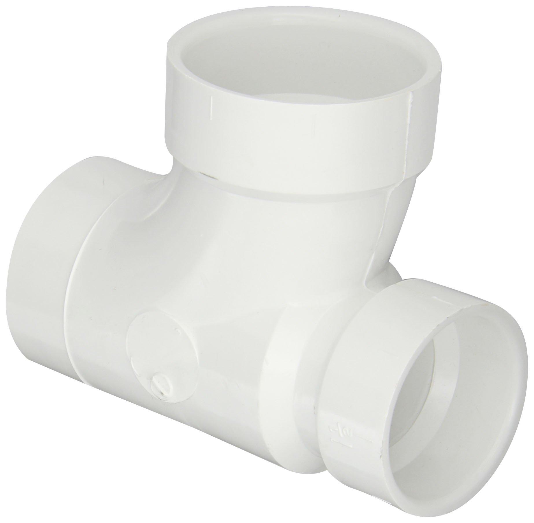Spears P404 Series PVC DWV Pipe Fitting, Reducing Sanitary Tee, 2'' Spigot x 1-1/2'' Hub x 2'' Hub