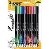 BIC, Bolígrafo mediano cristal, extrasuave (1.0mm), caja por 24 unidades, negro. 2, Variados, 10 unidades