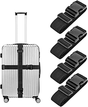 4 Luggage Straps Suitcase Belt Heavy Duty with Adjustable Buckle multicolor Makes Travel Luggage Easy to Spot and Secure