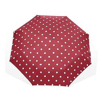 GUKENQ - Paraguas de Viaje, diseño de Lunares, Color Blanco, Ligero, antirayos