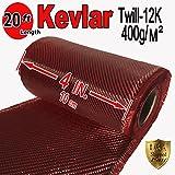 4'' x 20 FT Red - KEVLAR FABRIC-2x2 TWILL WEAVE-3K/220g