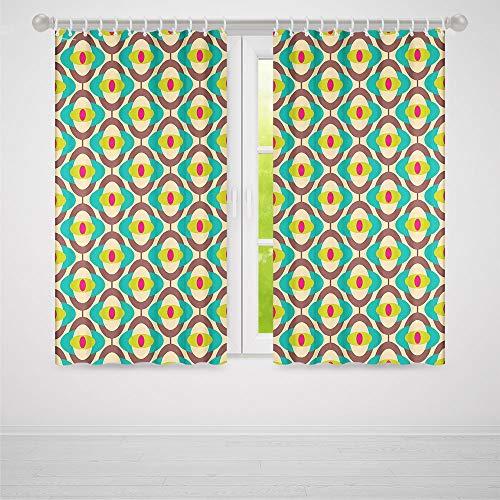 YOLIYANA Blackout Window Curtain,Vintage,Living Room Bedroom Curtain,Groovy Bauhaus Design Art Motifs Funky Geometric Minimalist Retro Unusual Tile2 Panel Set,70W X 98L ()