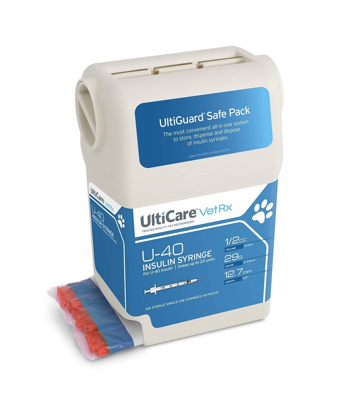 ULTIMED ULTRICARE VETRX DIABETES CARE INSULIN SYRINGES UltiGuard U-40 Syringe Dispenser, 29G x ½'', 1/2cc, 100/bx by UltiCare