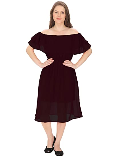 35e303047993 FRANCLO Women s Off-Shoulder Frill Dress (Black)  Amazon.in ...