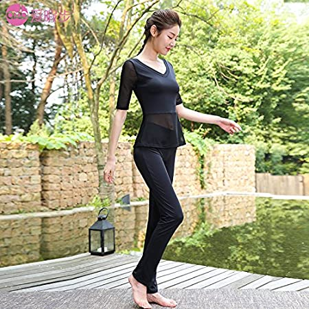 d519d51252625 Yoga suits female in autumn and winter high-end Yoga wear slimming fitness  dance gauze sportswear,XL,A7320N black X7325N black: Amazon.co.uk: DIY &  Tools