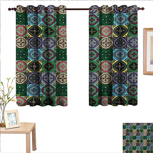 Curtains for Living Room Pattern of Abstract Shapes Inspired by Stained Glass Style Traditional Vibrant 55
