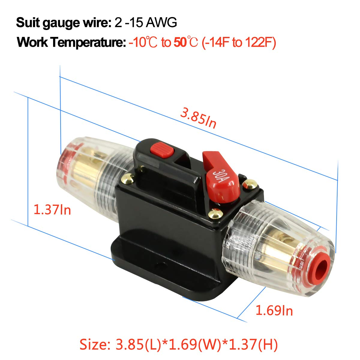 30a Inline Circuit Breaker Reset Fuse Powmr 300 Amp Car Audio Replace For 12v Dc Holder 30 With Manual 24v Stereo Switch And Solar