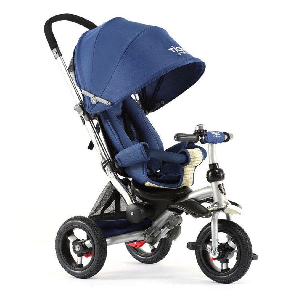 LVZAIXI 6歳から5歳の子供用折り畳み式三輪車で4インチ折り畳み式3輪プッシュトリック最大重量30 kg 色 送料無料 大人気 新品 : 青 B07BWB5P4S青