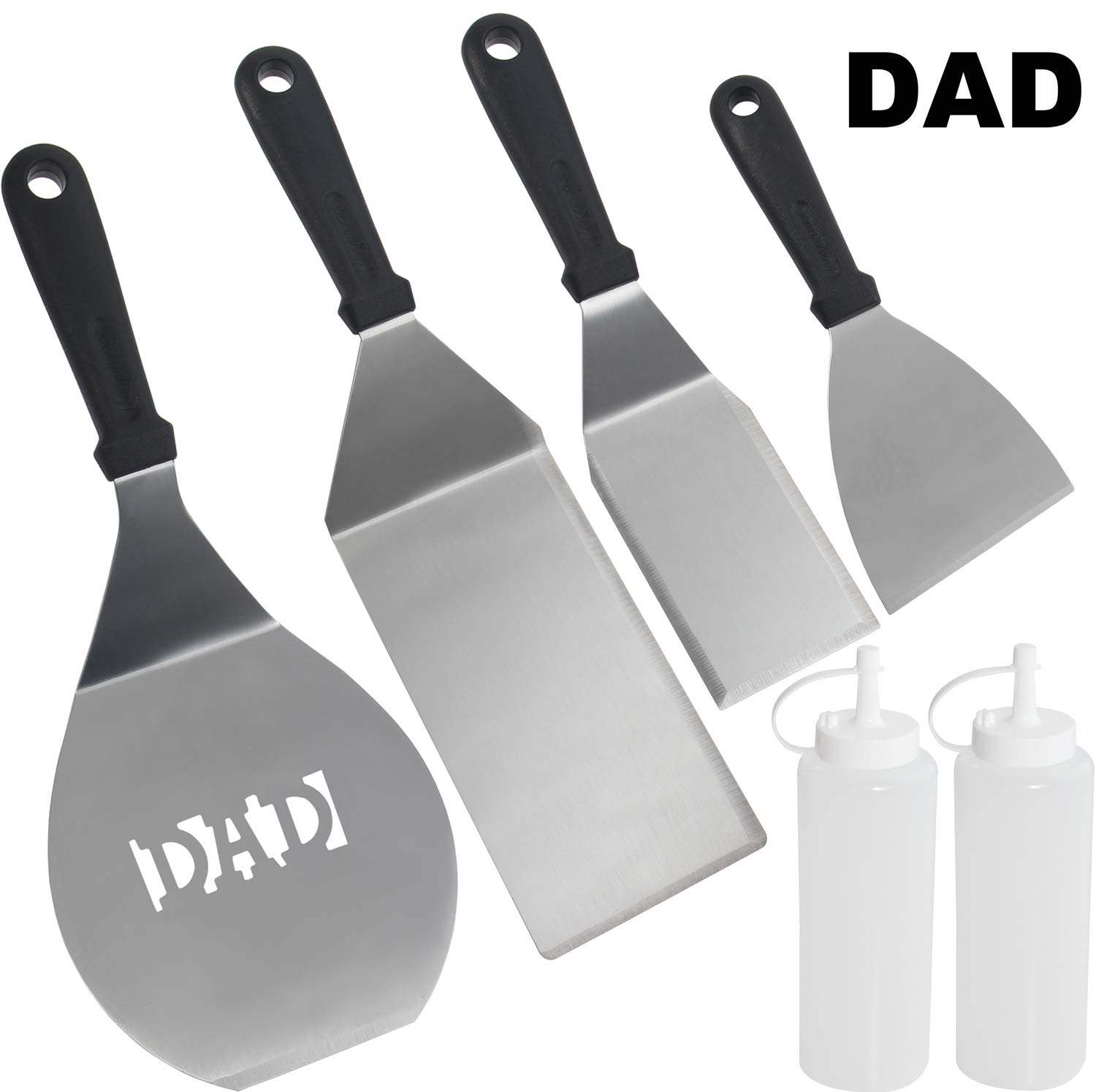 ROMANTICIST 6pc Dad Grill Griddle Accessories Set – Perfect Great BBQ Gift for Men Dad on Fathers Day – Heavy Duty Stainless Steel Griddle Tool Kit for Grill Griddle Flat Top Cooking