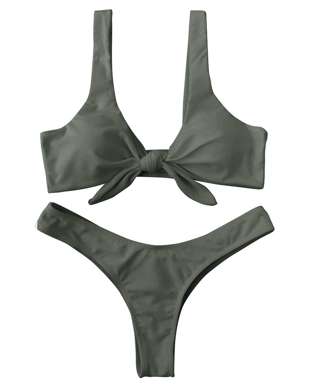 360a6ed8c0492 Amazon.com: ZAFUL Women Sexy Knotted Padded Thong Bikini Swimsuit Beach  Swimwear: Clothing