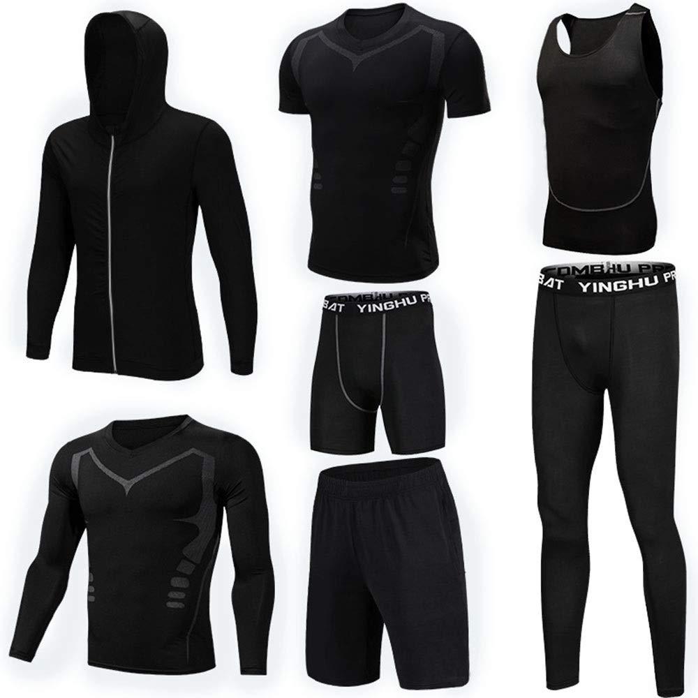 Wuxingqing Gym Wear Fitness Bekleidung Set 7 Stück Herrenunterwäsche Unterwäsche Set Mit Outwear Kompression Enge Hose 3er Pack Tshirt 2er Pack Shorts (Color : Black, Size : XXL)