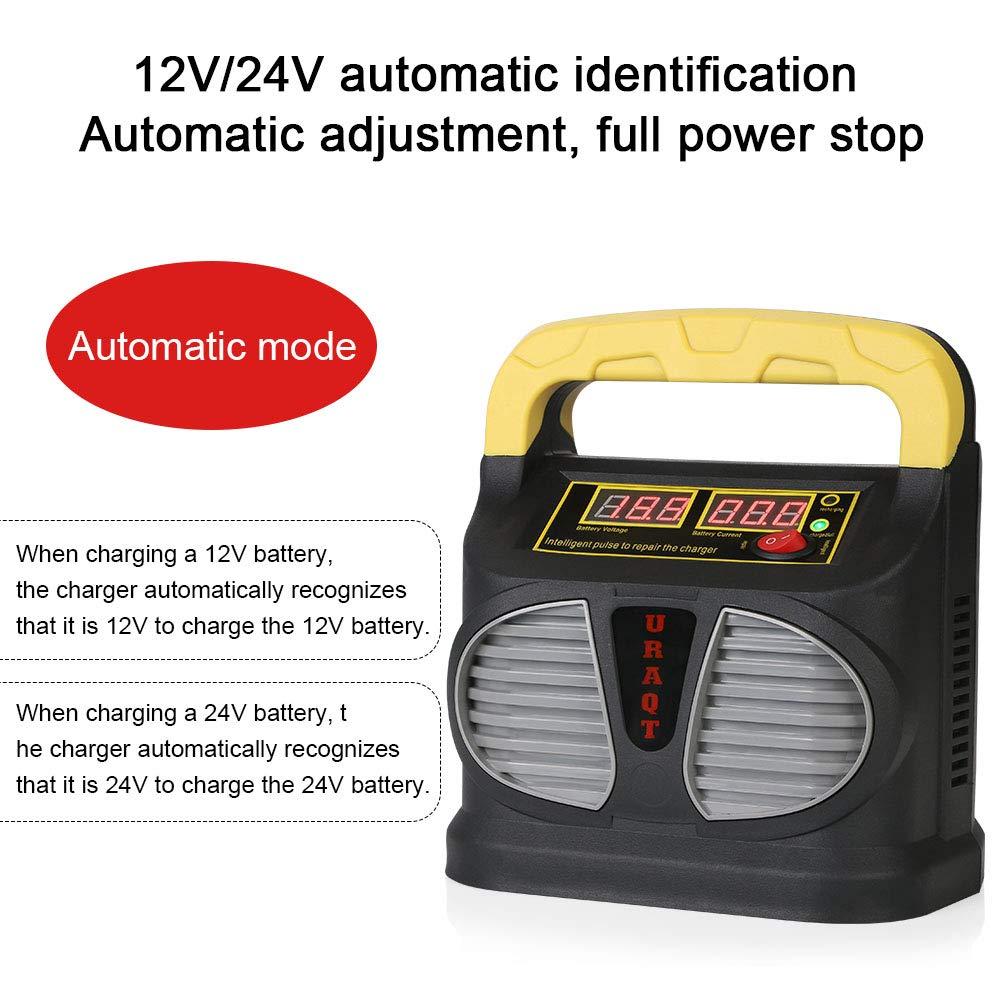 Intelligente Automato Caricabatterie Manutentore per Auto Moto URAQT Caricabatterie e Mantenitore Auto 10A 12V//24V ATV Powers Ports Barca,Camper