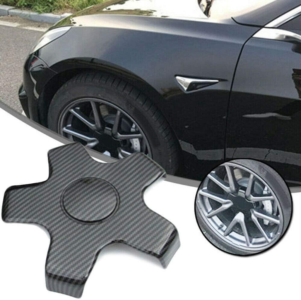 Noblik 4Pcs Car Carbon Fiber Wheel Center Hub Cap Cover Rim Cap for Tesla Model 3