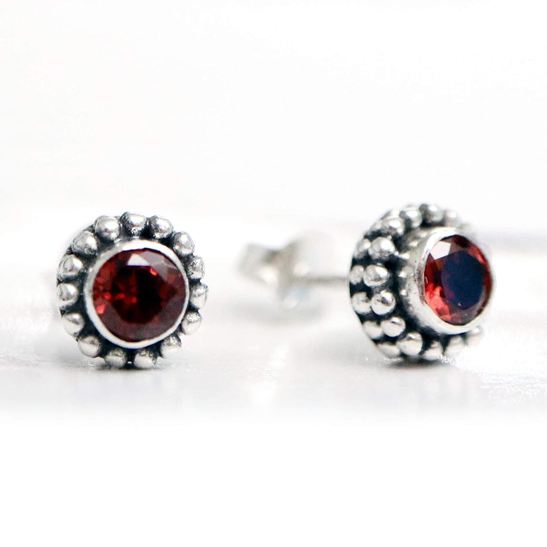 Red Garnet Abalone Shell Bali Sterling Silver Branch Earrings JD21
