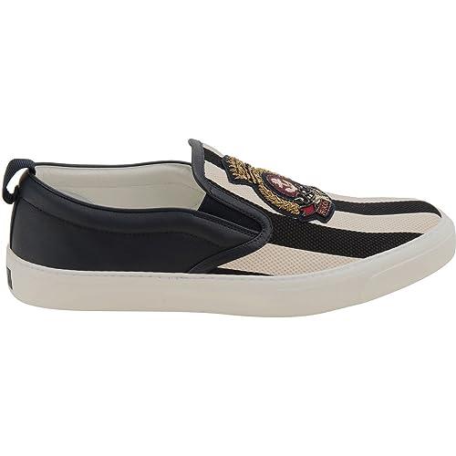 Gucci Slip On Sneakers Uomo 379666KA0D09573 Pelle Bianco Nero  Amazon.it  Scarpe  e borse ff6f67e6f72