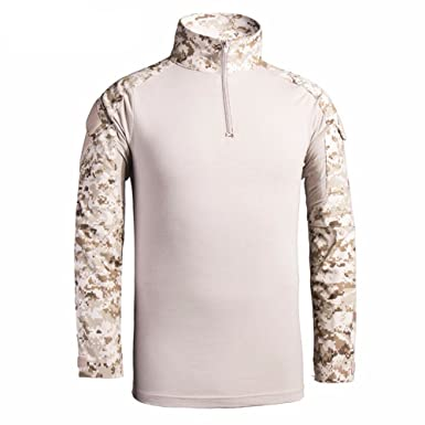 cb4549319 LANBAOSI Combat Camo Polo T-Shirt Long Sleeve Tactical Military Pullover  Shirt: Amazon.co.uk: Clothing
