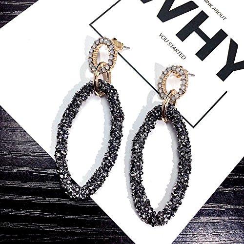 Flash Full Diamond Diamond Earrings earings Dangler Eardrop Oval Drop Exaggerated Retro Creative Personality Long
