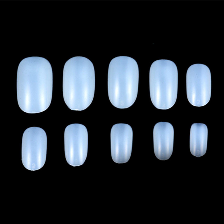 JUMP 600pcs Round Head Full Cover False Fake Artificial Nails Tips Art Tools (2 bag-1200pcs, Natural/white/clear) (Natural2) by Jump