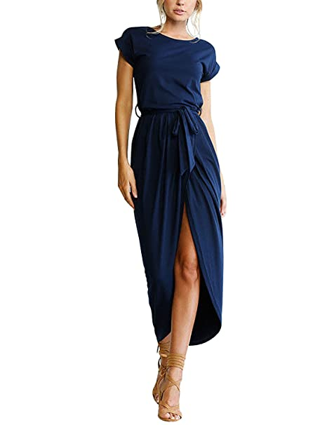 f73bb1cec96 Yidarton Sommer Kleid Damen Shirt Kleider Lang Strandkleid Beach Kleid Partykleid  Elegant Maxikleid  Amazon.de  Bekleidung