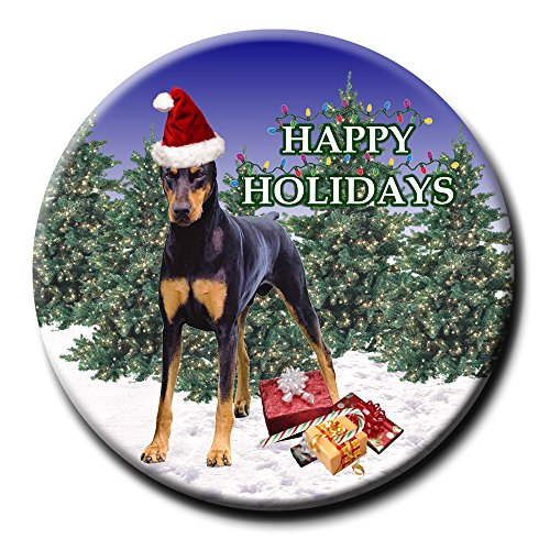 Doberman Pinscher Christmas Holidays Pin Badge Button No 1