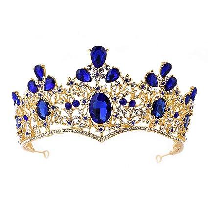 Amazon.com: Barroco Real Reina Oro Boda Corona Cristal ...