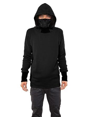 6c4ad123ace Men s Nobunga Hoodie Japanese Ninja Cowl Neck Black Printed Pullover  Outwear S