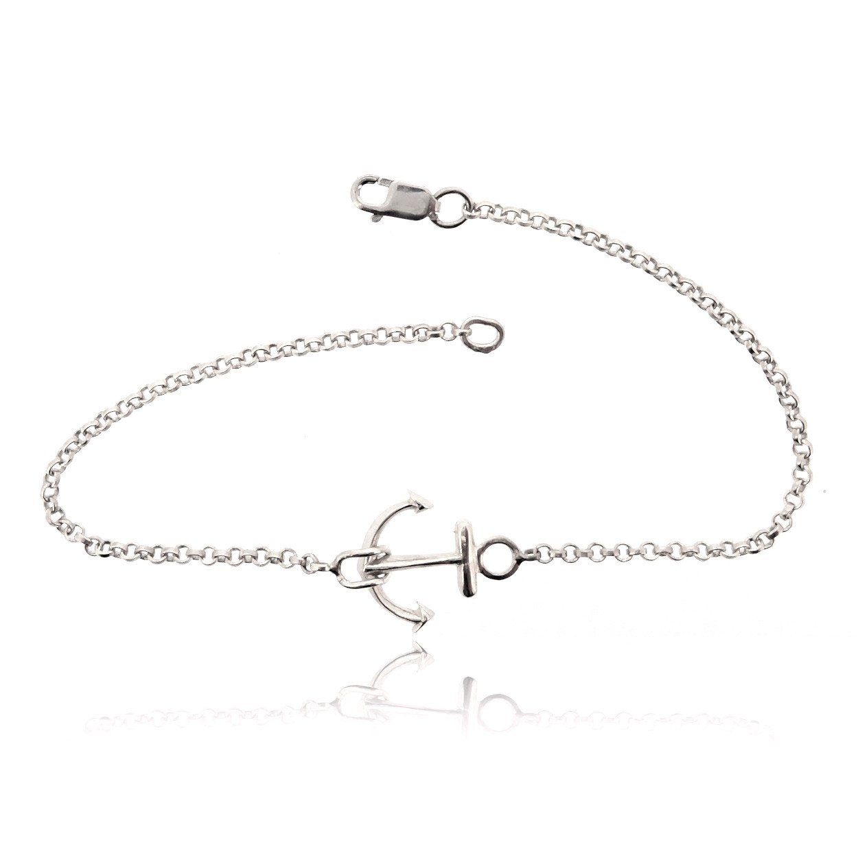 Sovats Anchor Chain Bracelet For Women 925 Sterling Silver Rhodium Plated - Nautical Jewelry Perfect Gift For Him and Her Size 7 East India 304_eb0090_us (7)